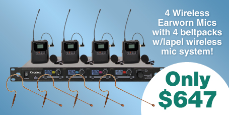 4 Wireless Earworn Mics and Beltpacks just $647