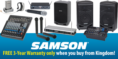 Free Shipping and 3 Year Warranty on all Samson Products