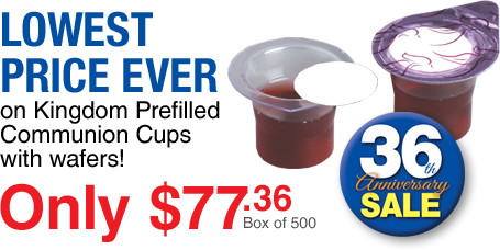 Lowest price ever on 500 count Box of Prefilled Communion Cups with Wafer