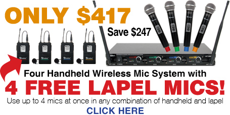 AVTronics UHF Wireless HH Quad Microphone Systems with Free Lepels