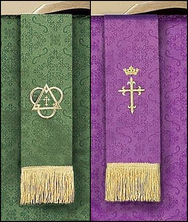 Purple & Green Jacquard Reversible 36 Inch Bookmark