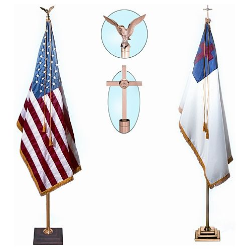 Walnut Base Flag Stand - Cross Finial