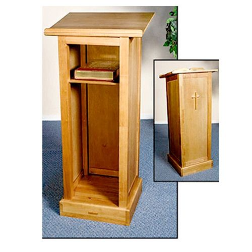 Cross Lectern w/Shelf - Pecan Finish