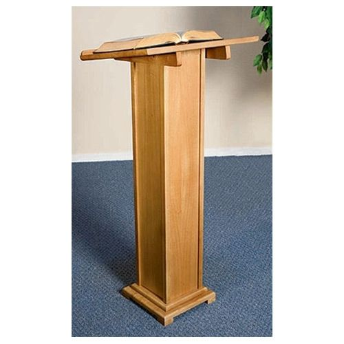Square Column Wooden Podium - Pecan