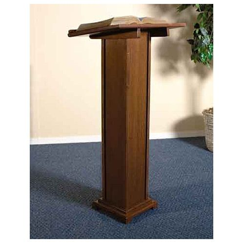 Square Column Wooden Podium - Walnut