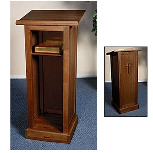 Cross Lectern w/ Shelf - Walnut Finish