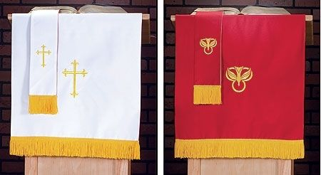"Red & White Reversible 36"" Pulpit Scarf"