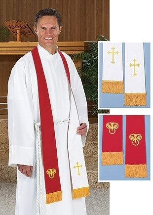 "Red & White Reversible Embroidered 90"" Stole"