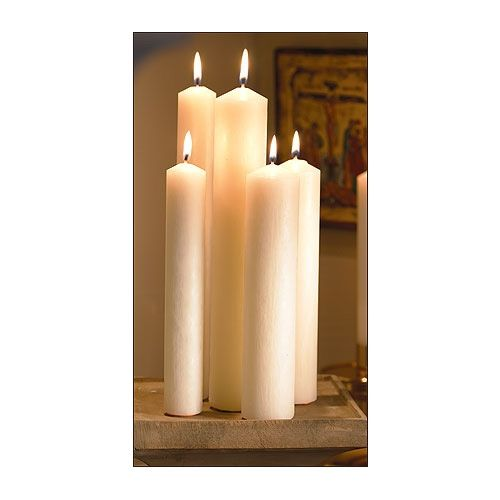 "Altar Brands 7/8"" x 12"" Plain End Candles - 24 Per Case"