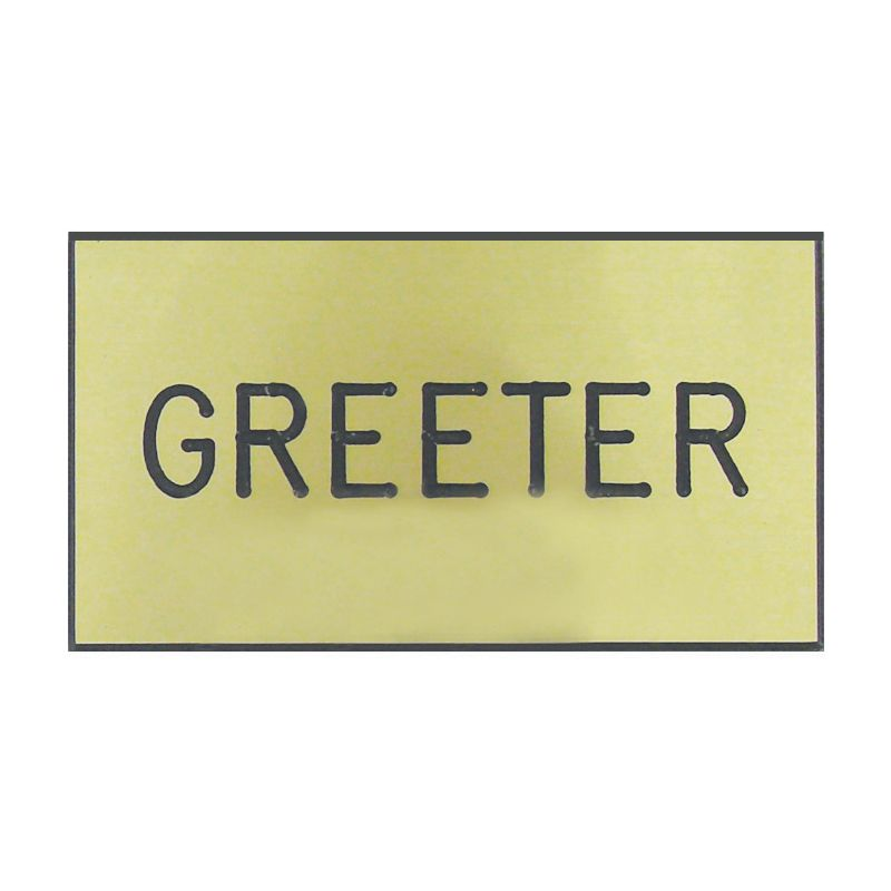 Gold Greeter Engraved Badge
