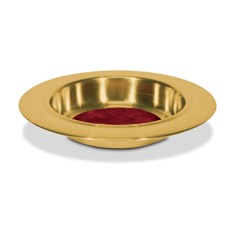 Brasstone Offering Plate with Red Felt Center - 12 Inches