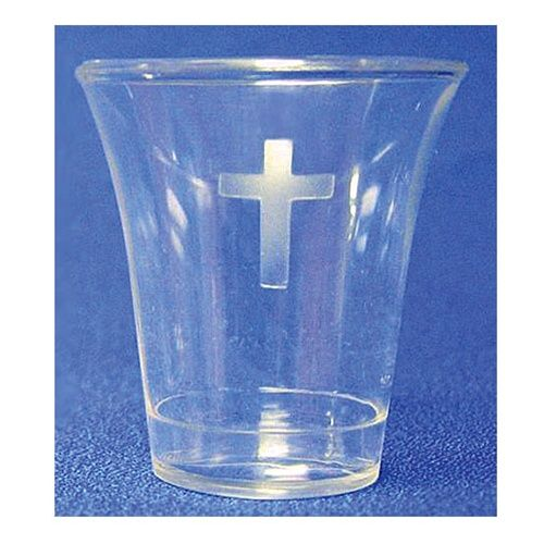 Disposable Communion Cups Crystal Plastic w/ Cross - 500 quantity
