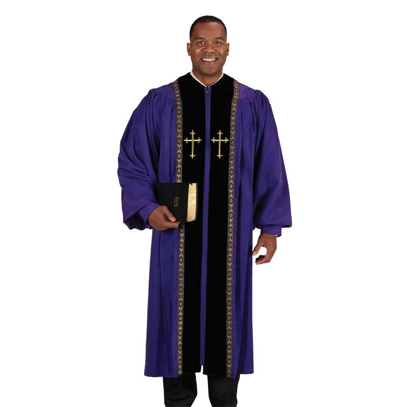 Pulpit Robes Purple Peachskin w/ Black Velvet Panels and trim lace - Extra Large