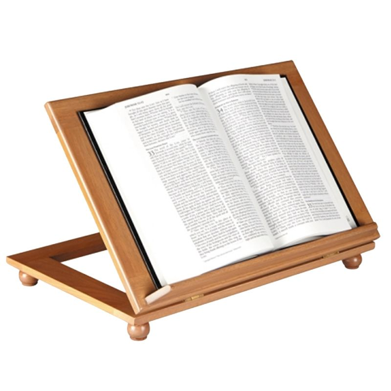 Adjustable Bible Stand with Pecan Finish