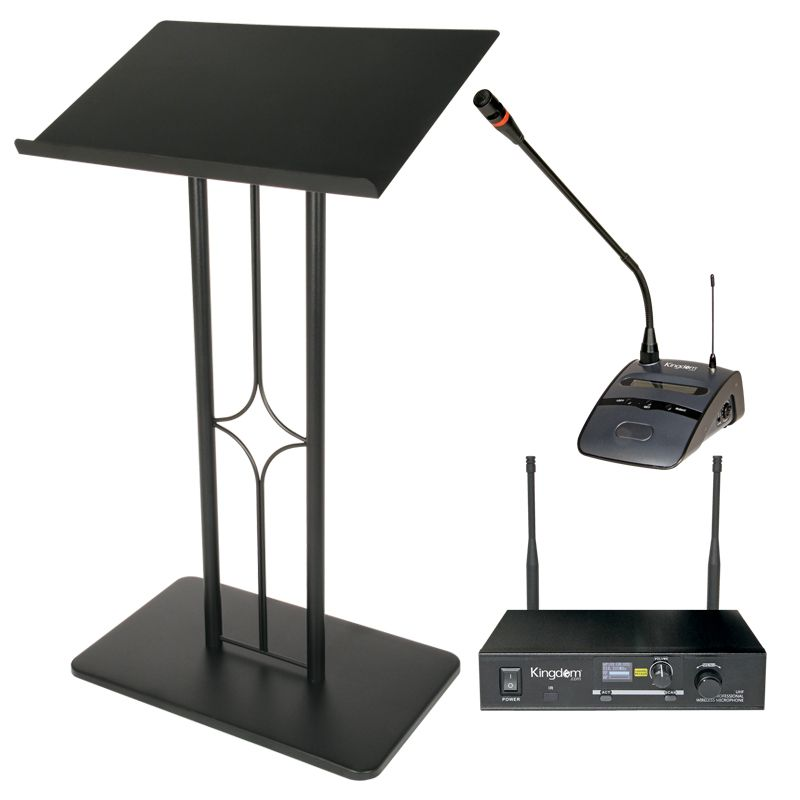 Delaware Black Metal Lectern with Kingdom Wireless Podium Microphone