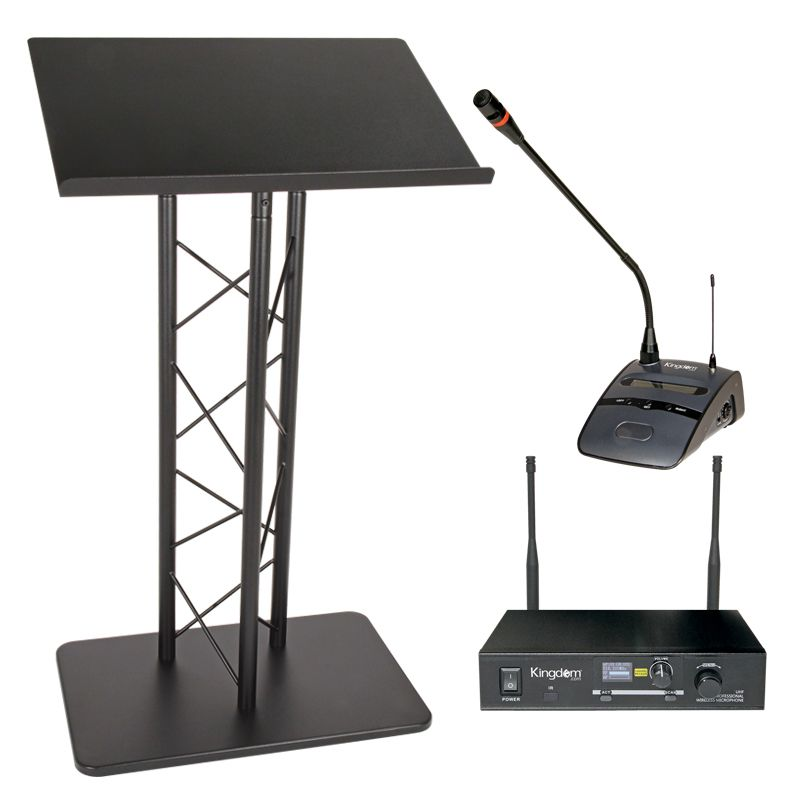 Essex Black Metal Lectern and Kingdom Wireless Podium Mic System Package
