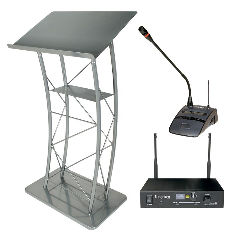 Large Curved Silver Metal Podium with Kingdom Wireless Podium Microphone