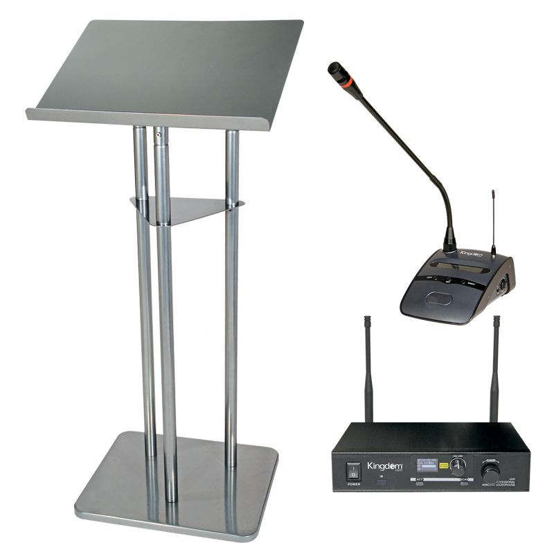 3 Post Silver Metal Lectern with Kingdom Wireless Podium Microphone