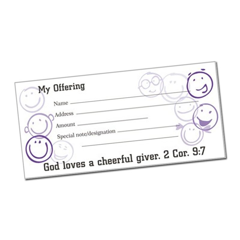 Offering envelopes with 2 Corinthian 9:7 pack of 100