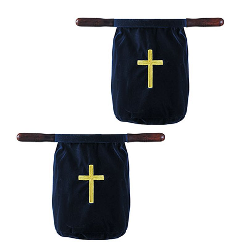 Velvet Offering Bag with Embroidered Cross - Blue
