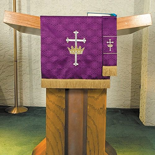 Pulpit Scarf with Fringe with Cross and Crown Design