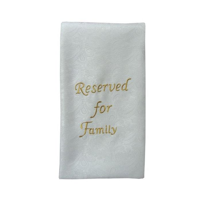 Pew Sash - Reserved for Family - White Sash
