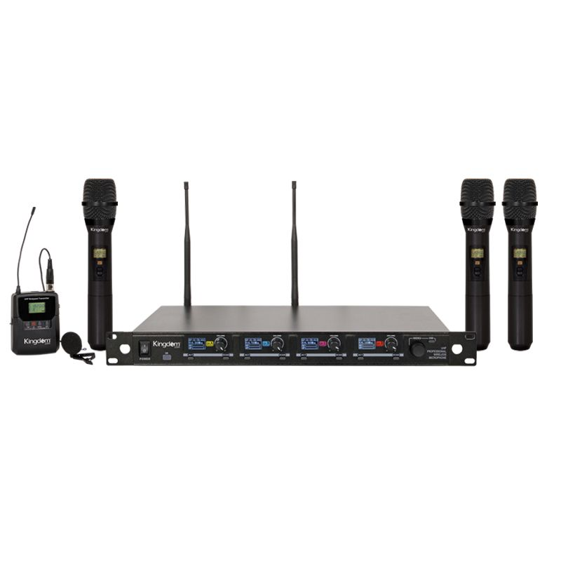 Kingdom V5 Wireless Mic System with 3 Handhelds, 1 Beltpack with Lapel