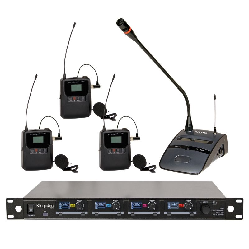 Kingdom V5 3 Lapel and 1 Podium Mic System
