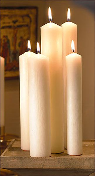 "Altar Brands 1 1/4"" x 12"" Plain End Candles - 12"