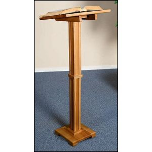Small Column Wooden Lectern in Pecan
