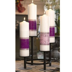 Celebrate Advent with this attractive Candle and Metal Candleholder Set