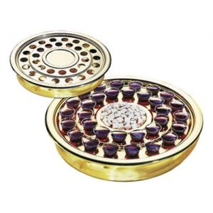 Single Pass Stackable Communion Tray-Brasstone or Silvertone