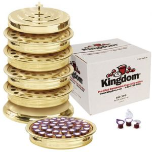 Communion Tray Sets Brasstone with Prefilled Communion Cups