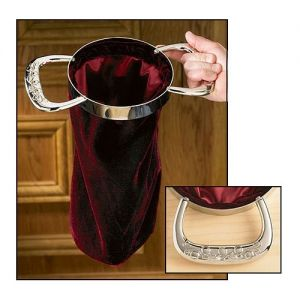 Set of 2 Burgundy Velvet Offering Bags w/Sculpted Brass Handles