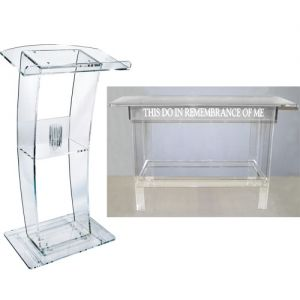 C Style Lectern with Clear Communion Table Package