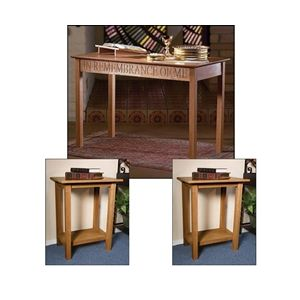 Communion and Offering Table Set - Available in Pecan or Walnut