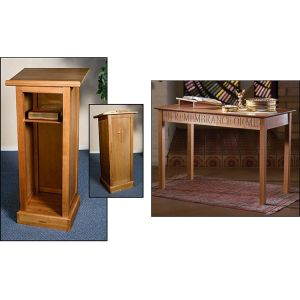 Communion Table and Cross Lectern Set - Choose from Pecan or Walnut-1