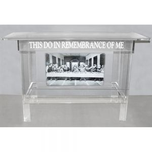 Acrylic Communion Table with Last Supper Image