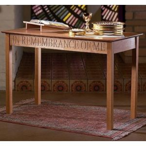 Wood Communion Table with Pecan Stain_1