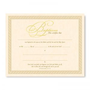 Baptism Certificate - Parchment Gold Embossed