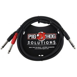 "Pig Hog Solutions - 3ft TRS(M)-Dual 1/4"" Insert Cable"
