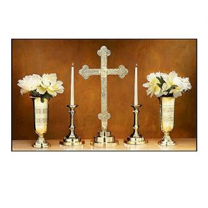 Filigree Altar Candleholders, Vases and Altar Cross