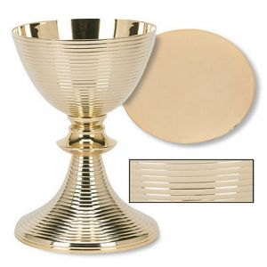 Classic Ring Design Chalice and Paten Set