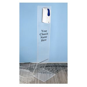 PERSONALIZED ACRYLIC HAND SANITIZER 35 CM WIDE DISPENSER STAND