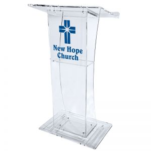 Personalized Madison Acrylic Lectern with Shelf