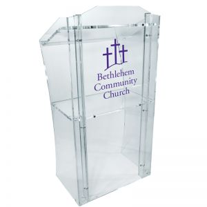 Personalized Brighton Acrylic Lectern with shelf