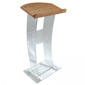 "Clear ""C"" Style Lectern with Wood Top"