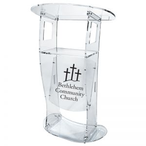 Personalized Hamilton Acrylic Lectern with Shelf