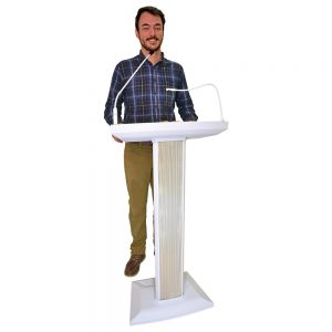 Denon Lectern Active Powered Podium with Microphone and Mixer - White