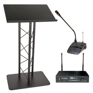 Metal Lectern and Kingdom Wireless Podium Microphone Package